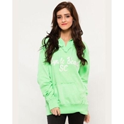 Buy Green Embroided French Terry Kangroo Hoodie for Women  online