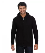 Black Zipper Fleece Hoodie for Men