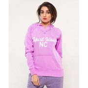 Purple Embroided French Terry Kangroo Hoodie for Women