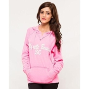 Pink Embroided French Terry Kangroo Hoodie for Women