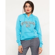 Blue Embroided French Terry Kangroo Hoodie for Women