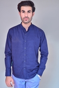 Mens Three Dot Print Casual Shirt IGN Navy Dotted
