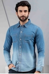 Mens Denim Shirt With Dip Dye Effect - Shirt  Dip Dye Denim