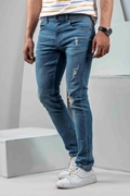 Mens Vintage Denim Mid Rise Slim Fit Jeans - Vintage D Denim Mid Rise-Blue