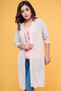 Womens Longline Mesh Shrug with Side Slits - Beige Supp10-B3