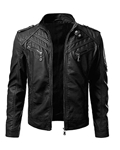 Black Stylish Zipper PU Leather Jacket for Men