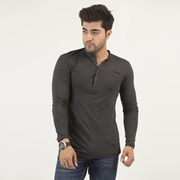 Wear Bank Black Full Sleeve Four Button Style T-shirt for Men