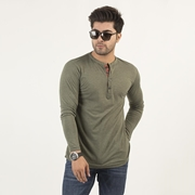 Wear Bank Army Green Full Sleeve Four Button Style T-shirt for Men