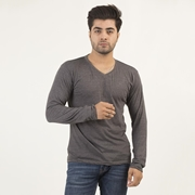 Wear Bank Charcoal V Neck Full Sleeves T-shirt for Men