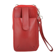 Red Real Leather Mobile Pouch and Wallet with Anti theft Technology