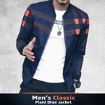 Mens Classic Plaid Blue Jacket-003