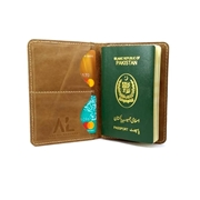 House of Leather Mustard Real Cow Leather Pasport Cover with Card Holder