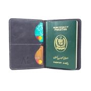 House of Leather Black Real Cow Leather Pasport Cover with Card Holder