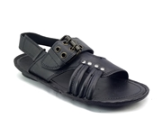 House of Leather Black Leather Sandal for Men S-20