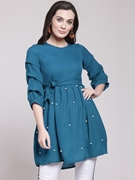 Frock Stylish Shirt for Women's Blue VT-1014