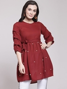 Frock Stylish Shirt for Women's  Maroon VT-1017