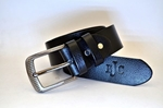 BLACK FULL GRAIN LEATHER SIGNATURE BELT