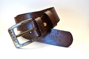 BROWN FULL GRAIN LEATHER SIGNATURE BELT