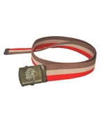 TRI COLOR CANVAS BELT WITH EMBOSSED LION HEAD BUCKLE