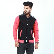 Buy Black and red leather collar with front button jacket for men ABZ-9  online