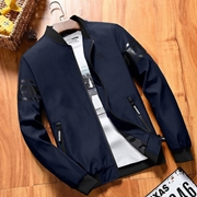 Blue baseball collar with rubber printed sleeves jacket for men ABZ-14