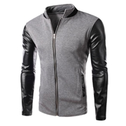 Charcoal leather sleeves jacket for men ABZ-16