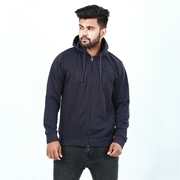 Blue front zipper hoodie for men ABZ-17
