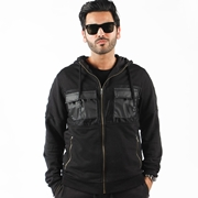 Black Zip Hoodie Jacket With Chest Leather Pocket For Men ABZ-26