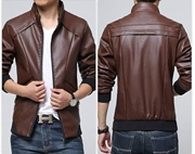 Slim Fit Faux leather Jacket For Men ABZ-28