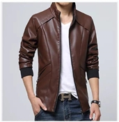 Buy Slim Fit Faux leather Jacket For Men ABZ-28  online