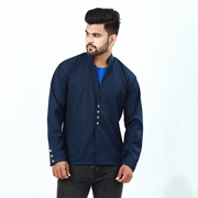 Navy blue Stylish Button Coat For Men ABZ-34