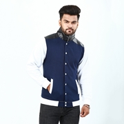 Leather Collar With Front Button Jacket For Men ABZ-35