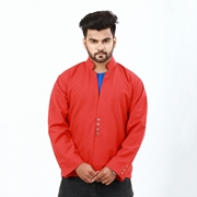 Stylish Red Coat With Front Button For Men ABZ-39