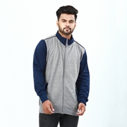 Stylish Grey Contrast Sleeves Bomber Jacket For Men ABZ-40