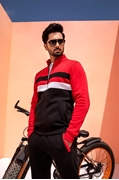 Men Black & Red Multi Striped Track Suit ABZ-44