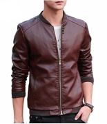 Maroon Stylish Business Class faux Leather Jacket Water Proof ABZ-45