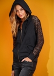 Black hoodie with net sleeves for women ABZ-10