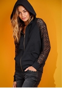 Buy Black hoodie with net sleeves for women ABZ-10  online