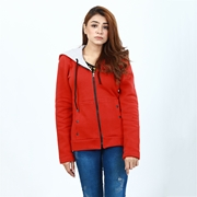 Red pocket button style zipper hoodie for women ABZ-15