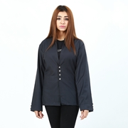 Black Coat With Front Button For Women ABZ-38