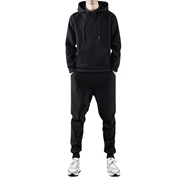 Tracksuit for mens & womens plain black fleece WS-06