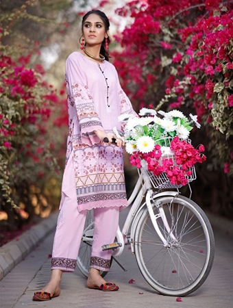 Buy Khas 2 PIECE UNSTITCHED PRINTED LAWN SHIRT WITH DYED TROUSER RKL-1099  online