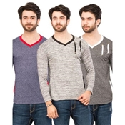 Buy Pack Of 3 Two Stripes T-Shirts For Men  online