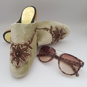 Fawn Velvet Mule Shoes with brown embroidery